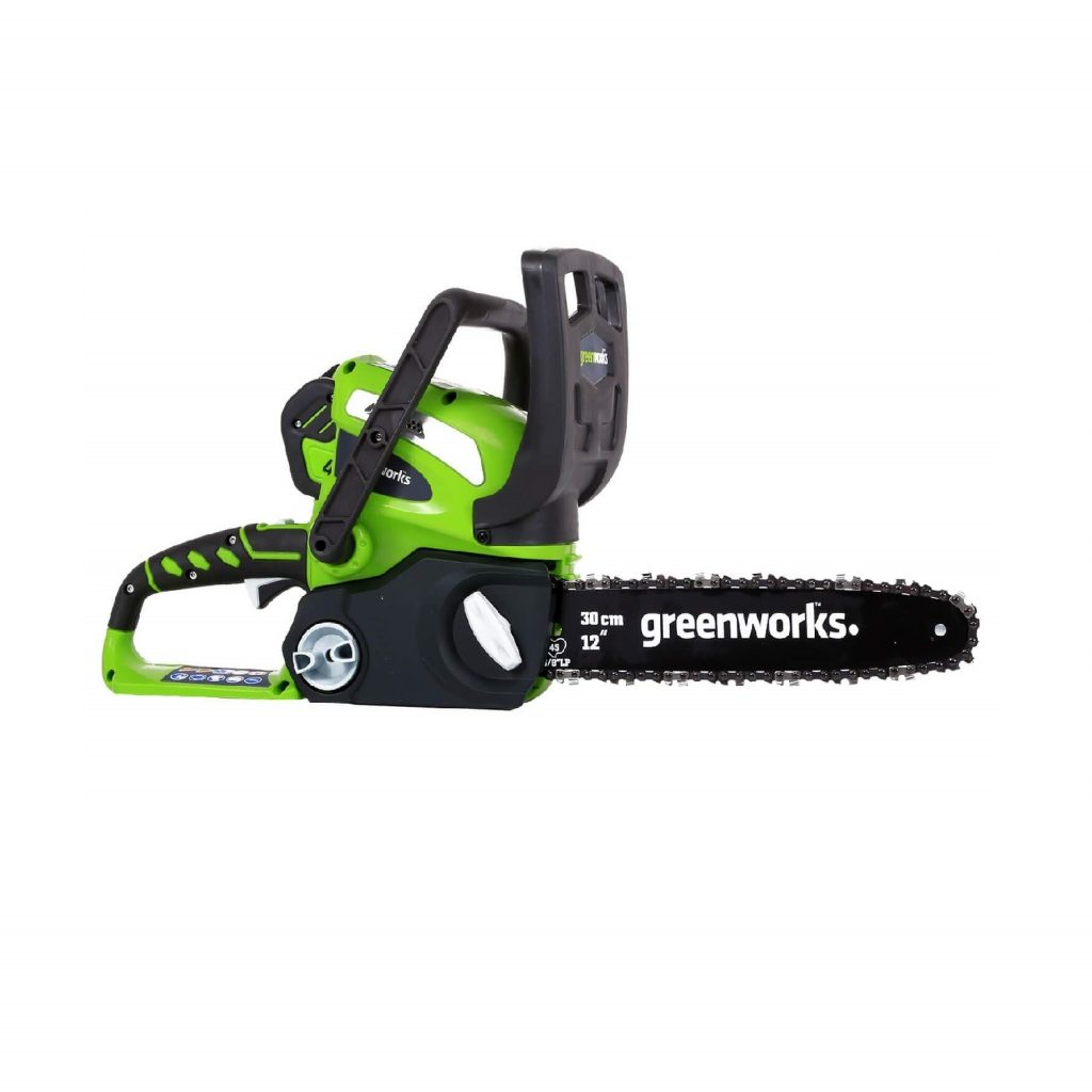 product shot of green chain saw